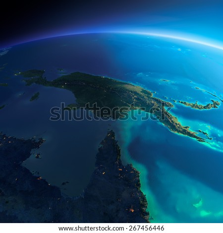 Highly detailed planet Earth. Night with glowing city lights gives way to day. The boundary of the night & day. Australia and Papua New Guinea. Elements of this image furnished by NASA - stock photo