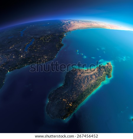 Highly detailed planet Earth. Night with glowing city lights gives way to day. The boundary of the night & day. Africa and Madagascar. Elements of this image furnished by NASA - stock photo