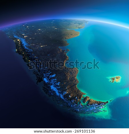 Highly detailed planet Earth. Night with glowing city lights gives way to day. The boundary of the night & day. South America. Tierra del Fuego. Elements of this image furnished by NASA - stock photo
