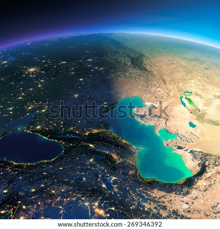 Highly detailed planet Earth. Night with glowing city lights gives way to day. The boundary of the night & day. Caucasus and the Caspian Sea. Elements of this image furnished by NASA - stock photo