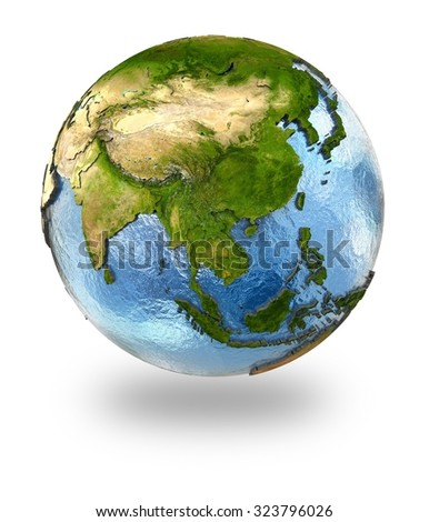 Highly detailed planet Earth with embossed continents and visible country borders featuring southeast Asia. Isolated on white background. Elements of this image furnished by NASA. - stock photo