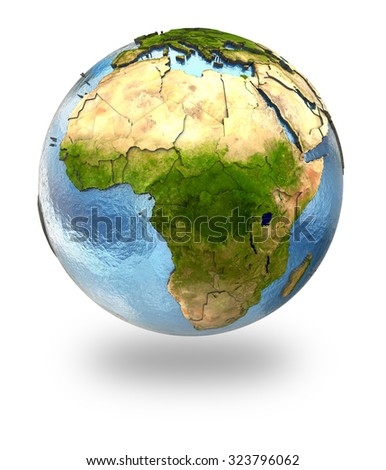 Highly detailed planet Earth with embossed continents and visible country borders featuring Africa. Isolated on white background. Elements of this image furnished by NASA.