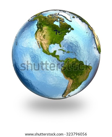 Highly detailed planet Earth with embossed continents and visible country borders featuring America. Isolated on white background. Elements of this image furnished by NASA. - stock photo