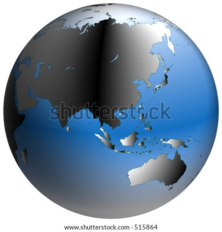 Highly-detailed world map in spherical co-ordinates, with Asia continent in view - stock photo