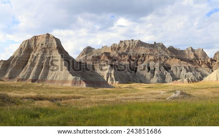 Highly Eroded Mountains of South Dakota's Badlands - stock photo
