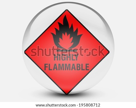 Highly flammable sign drawn on  on glossy transparent round icon - stock photo
