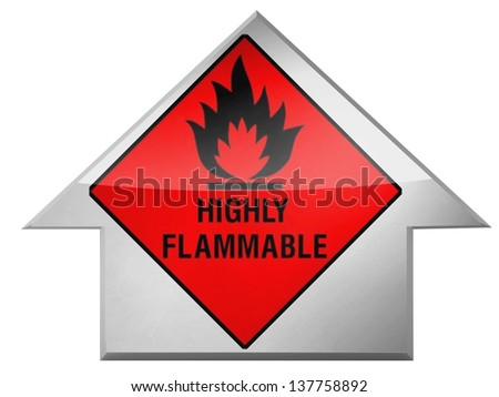Highly flammable sign drawn on  on up arrow icon - stock photo