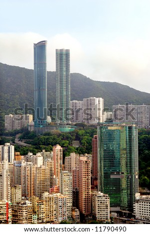 Highrise apartments in Happy Valley, Hong Kong - stock photo