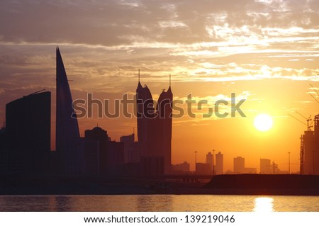 Highrise building during sunset - stock photo