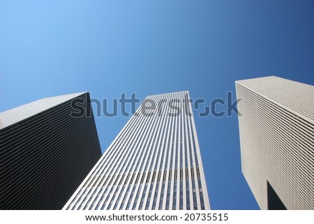 Highrise buildings against Blue sky - stock photo