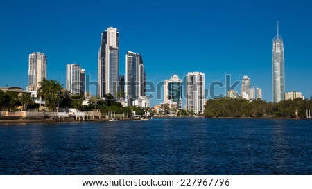 Highrises on canals, city of Gold Coast, Australia - stock photo