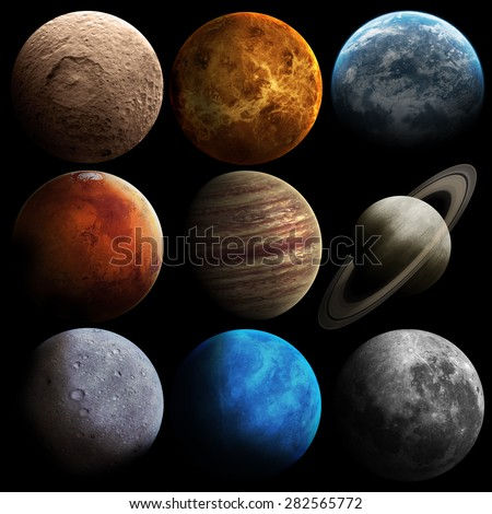 Hight quality solar system planets. Elements of this image furnished by NASA - stock photo