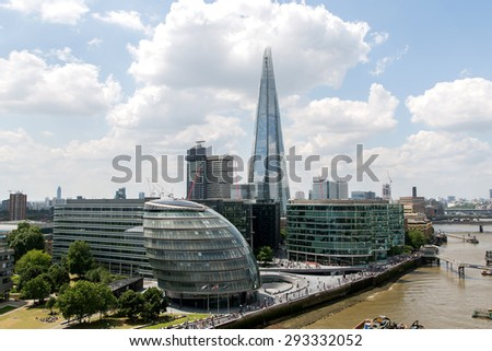 hight view of the London City Hall council at the bank of the River Thames.business aria view from the Tower Bridge - stock photo