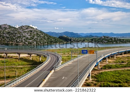 Highway A1 with viaduct in the hinterland Metkovic in Croatia.