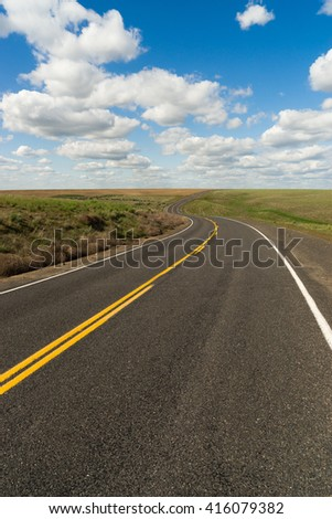 Highway 26 across rural Washington State on a beautiful day - stock photo