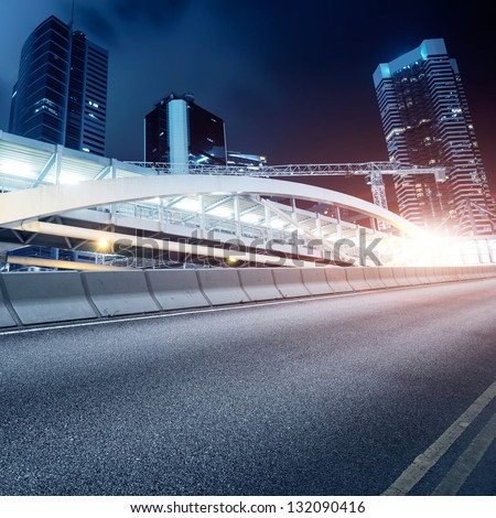 Highway and Hong Kong landscape at night - stock photo