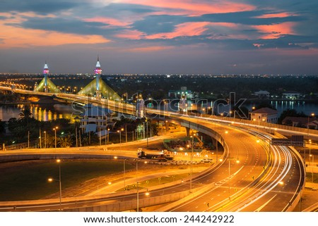 Highway and Suspension bridge in Bangkok ,Thailand - stock photo