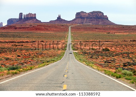 Highway 163 approaching Monument Valley, Utah, USA - stock photo