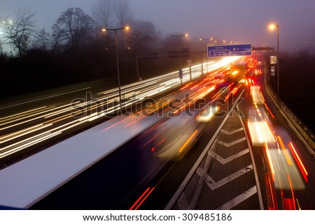 Highway at Evening Rush Hour in Berlin, Germany - stock photo