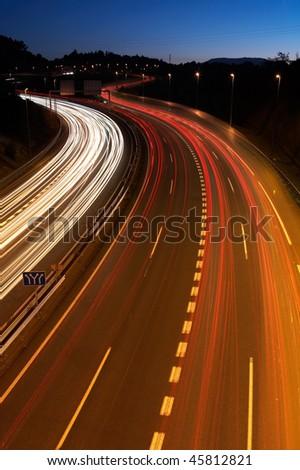 Highway at night, long exposure - stock photo