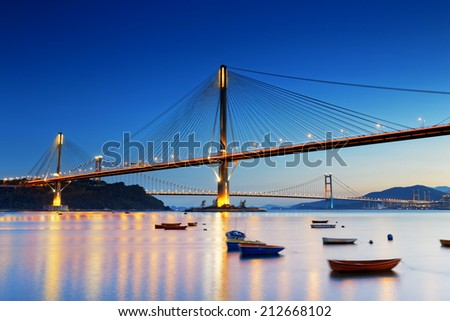 highway bridge, hong kong at night - stock photo