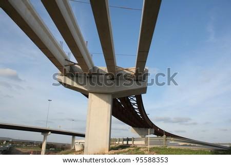 highway bridge under construction - stock photo