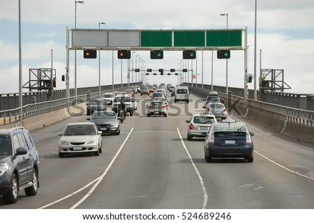 Highway bridge with cars passing by