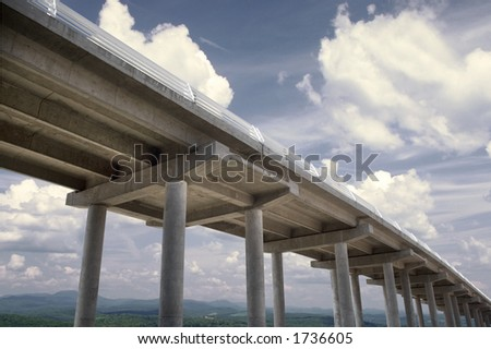Highway bridge with countryside landscape