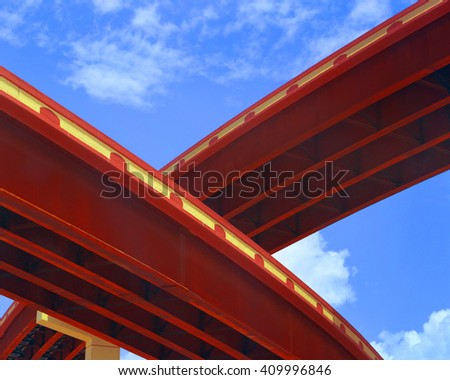 Highway bridges captured in artistic angle demonstrating their architectural allure - stock photo