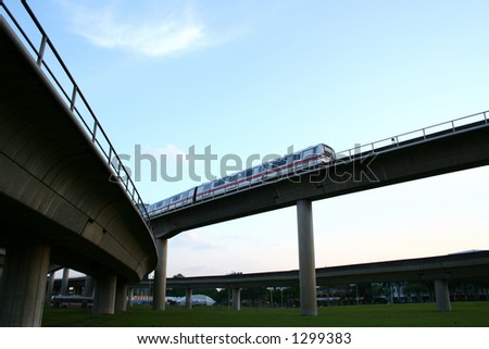 Highway bridges intersections, suspended train railway. - stock photo