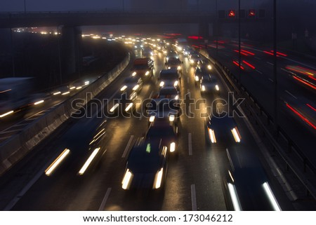Highway during Evening Rush Hour in Berlin, Germany - stock photo