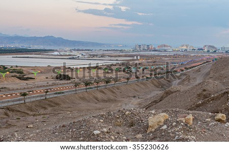 Highway entering to Eilat city - famous resort and recreation city in Israel - stock photo