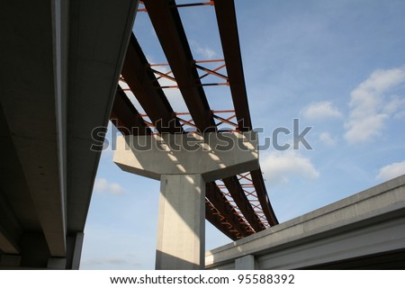 Highway flyover under construction - stock photo