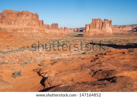 Highway in  Arches National Park, Moab, Utah, USA. - stock photo