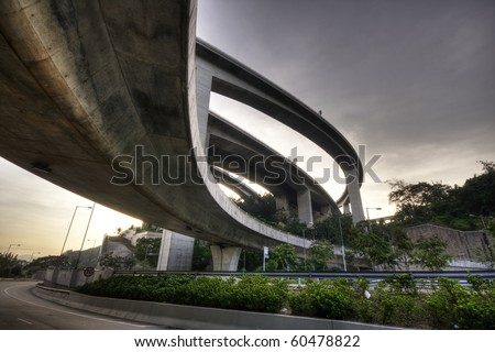 highway in hong kong and sky in sunset - stock photo