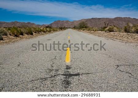 Highway in Joshua Tree National Park, California - stock photo