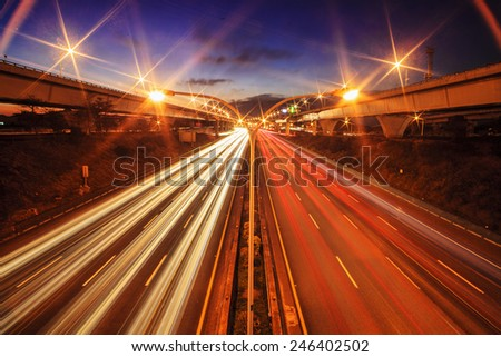 Highway in night with cars light in Taiwan for adv or others purpose use - stock photo