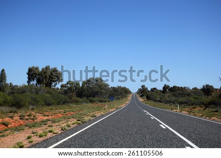 Highway in the Australian Outback. Northern Territory . - stock photo
