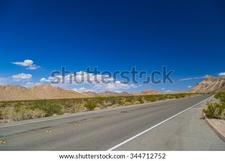 Highway in Valley of Fire State Park, South Nevada - stock photo