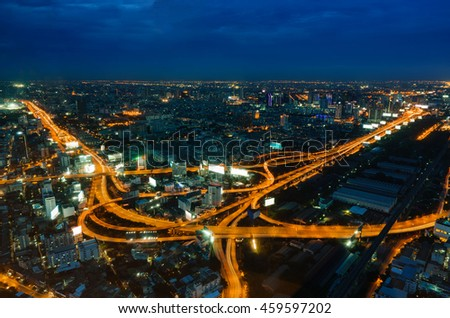 Highway intersection and Urban in Aerial view, Night Light of Cityscape in Bangkok Thailand