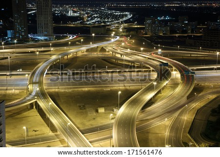Highway intersection at night. Dubai, UAE - stock photo
