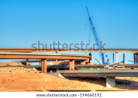Highway intersection under construction. - stock photo