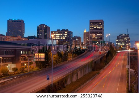 Highway Into Downtown Tacoma Washington City Skyline - stock photo