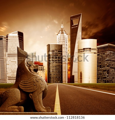 Highway leading to the Shanghai Lujiazui financial district - stock photo