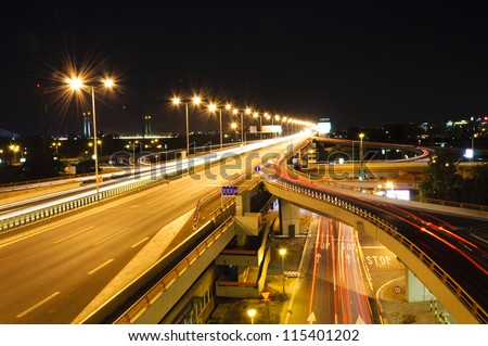 Highway lights in long exposure - stock photo