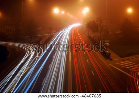 highway night traffic - stock photo