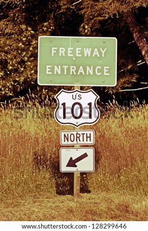 Highway 101 North Entrance Sign. Famous California Highway 101. Vintage Colors. Travel Photo Collection