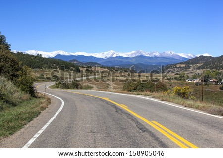 Highway of Legends winding through southwest Colorado - stock photo