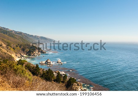 Highway one coastline with beautiful view on pacific ozean - stock photo