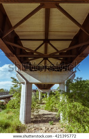 Highway overpass from under - stock photo